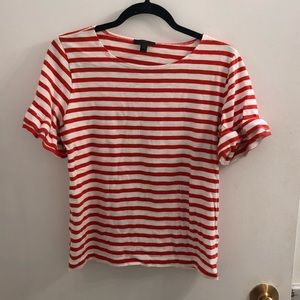 JCrew Red Striped Short Sleeve Ruffle Tee